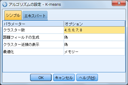 k-meansアルゴリズムの設定